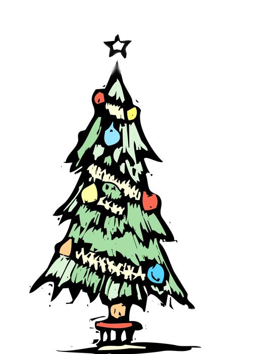 Xilogravura Árvore de Natal